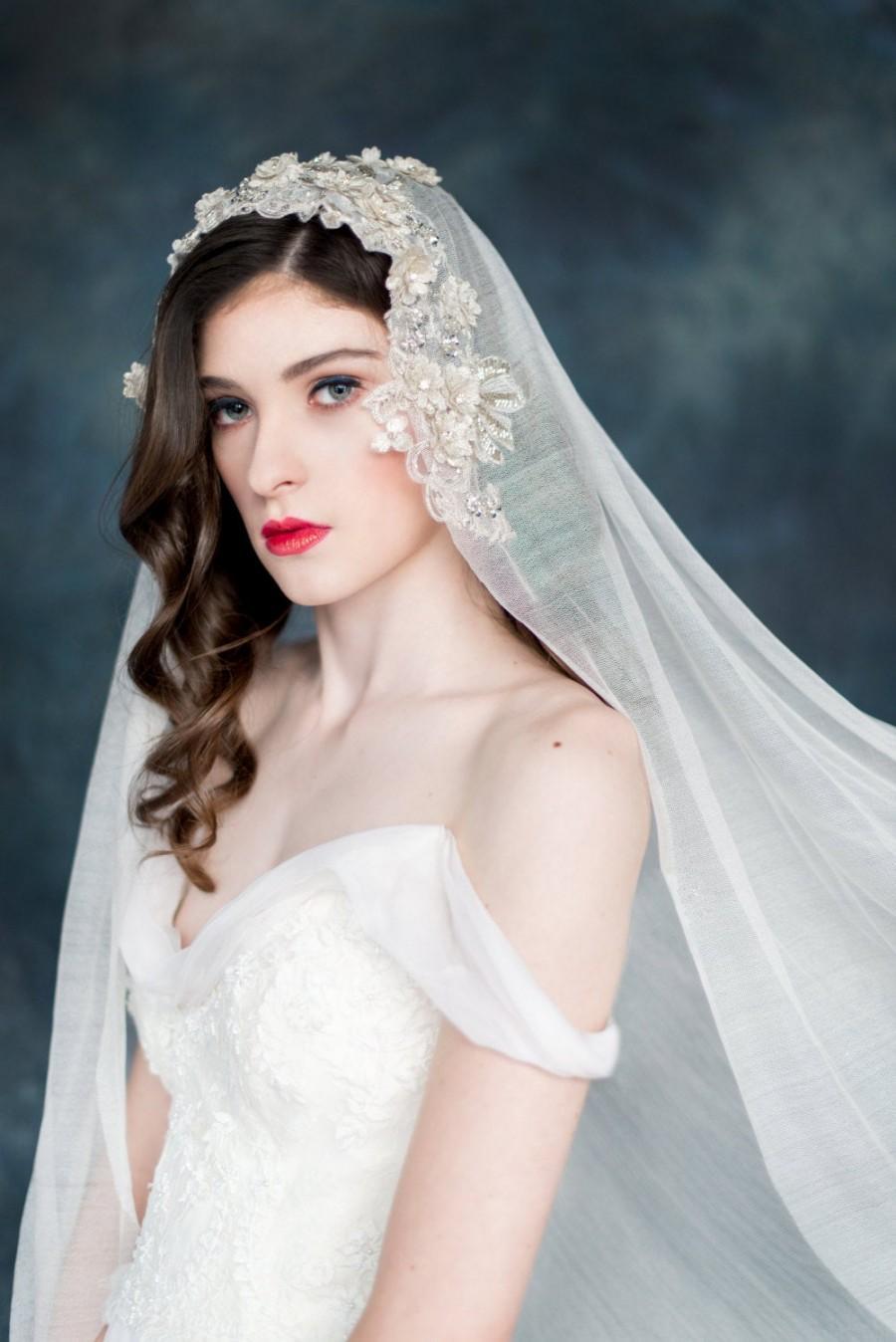 Wedding - Lace Mantilla Veil, Silk Bridal Veil, Embroidered Lace Veil, Alternative Wedding Veil, Crystal Veil, Ivory Lace Veil, Champagne Veil, MEADOW