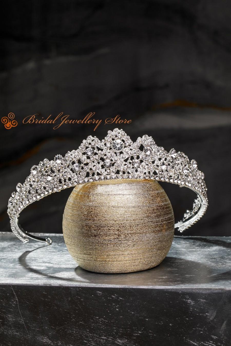 زفاف - Bridal Tiara,Silver Tiara,Crystal Bridal Crown,Wedding Tiara,Wedding Hair Accessory,Wedding Headpiece,Bridal Hairpiece,Swarovski Crystals !