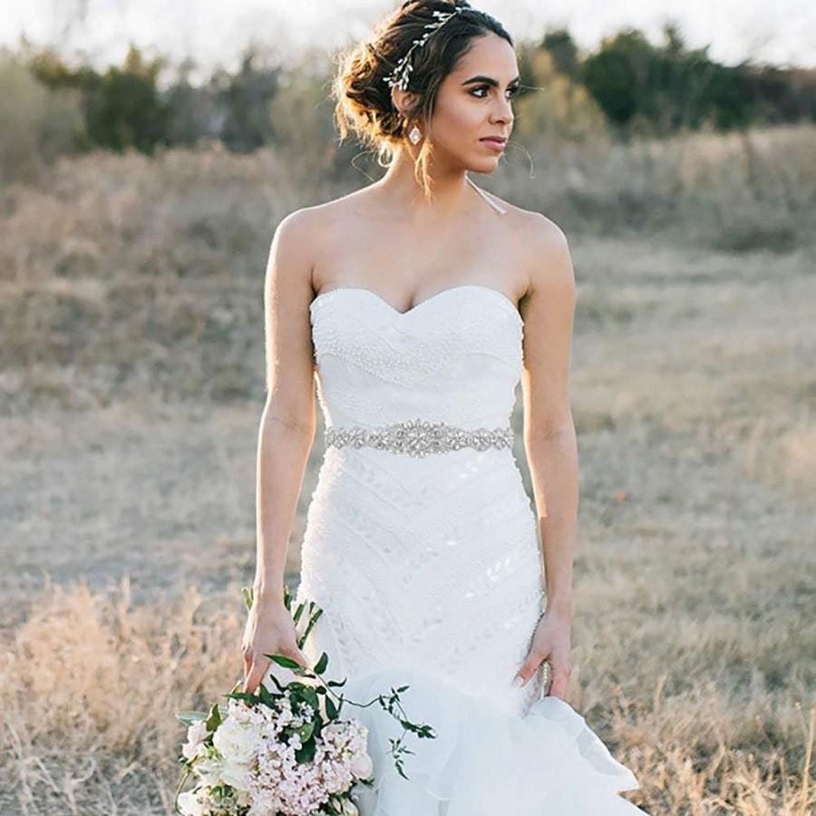 Свадьба - Ivory wedding dress belt, wedding dress sash, bride or bridesmaid rhinestone and pearl wedding dress sash