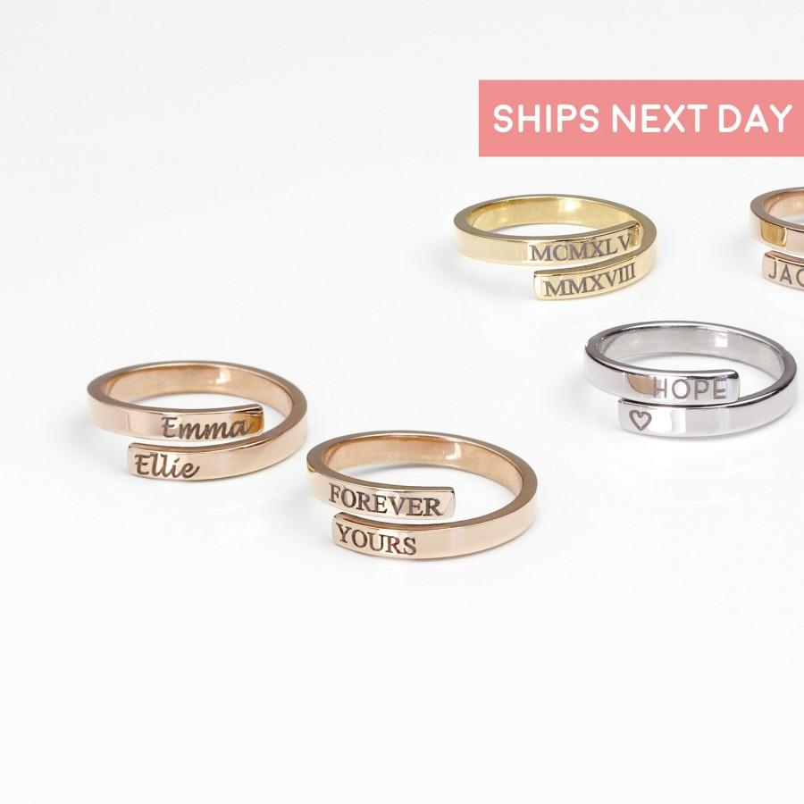 Mariage - Initials Ring Best Friend Rings Personalized Gift For Women Ring Engraved Ring Wrap Ring Personalized Stackable Rings Ring Initial Ring -RWB