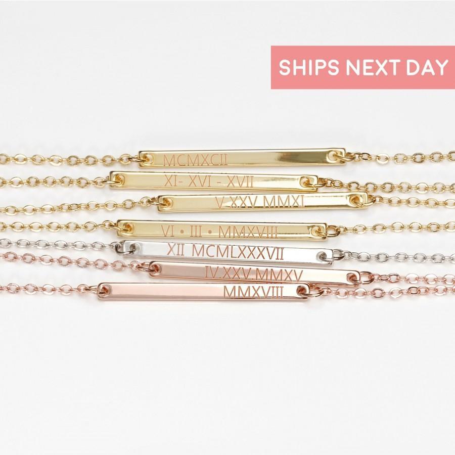 Свадьба - Roman Necklace, Wedding Date Necklace, Silver Anniversary Necklace Gold Anniversary Gift - 1N