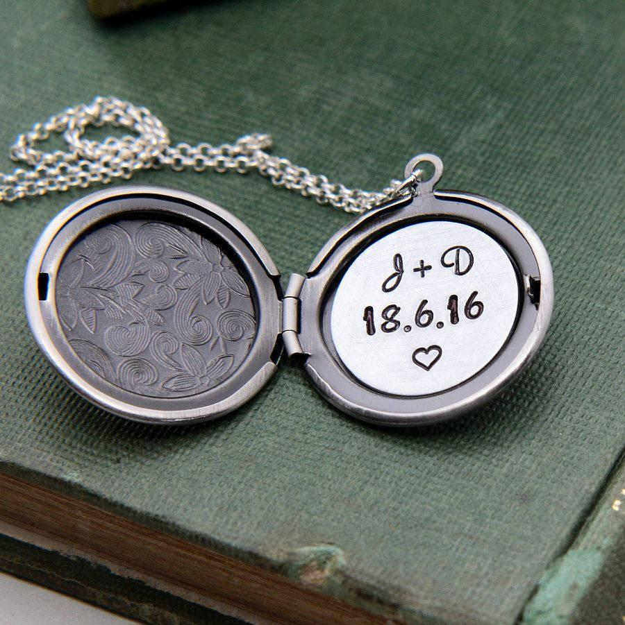 Mariage - Locket Necklace, Personalized Necklace, Personalized Jewelry, Initial Necklace, Anniversary Date Necklace, Custom Jewelry, Gift for Her