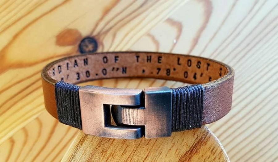 Свадьба - Customized Christmas Gift under 30 dollars Men Bracelet Gift  Leather Man Leather Bracelet Personalized Coordinate Leather Bracelet