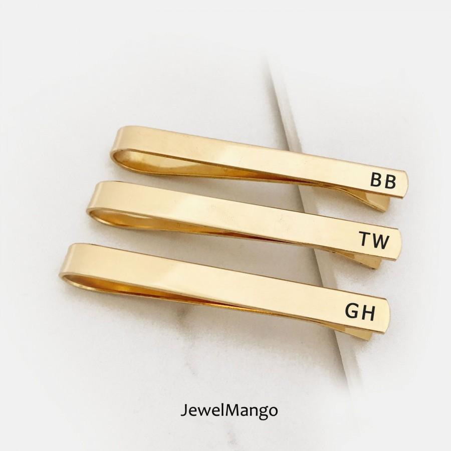 Hochzeit - GOLD Tie Clip, brass, Groomsmen, Regular, Skinny Tie clip, Groomsmen tie clip, Wedding, Custom Tie Clip, gift for him, dad, gift for boy