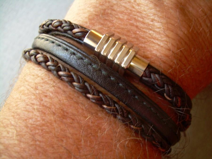 Свадьба - Mens Leather Bracelets, Mens Bracelets Leather, Mens Leather Wrap Bracelet with Stainless Steel Magnetic Clasp, Industrial Leather Bracelet,