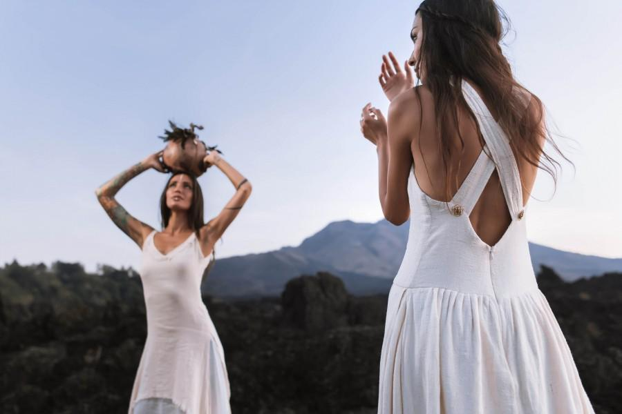 Свадьба - White Boho Dress for Women • Bridesmaid Dress • Open Back Maxi Goddess Dress  • Eco Organic Clothing • Simple Wedding Dress With Pockets
