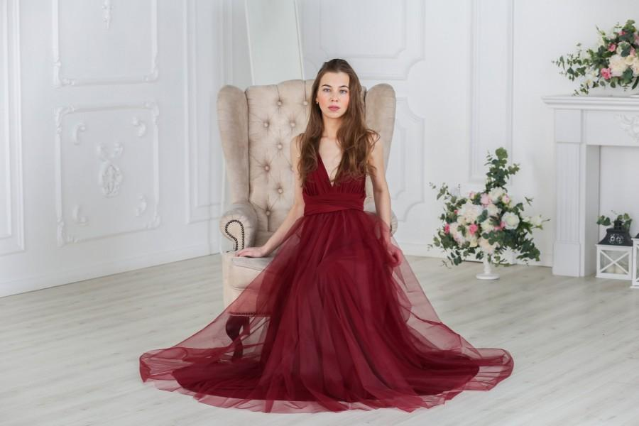 Свадьба - Burgundy wine Bridesmaid dress, Burgundy infinity tulle dress, Burgundy tulle convertible dress,  multiway dress, Burgundy tulle dress
