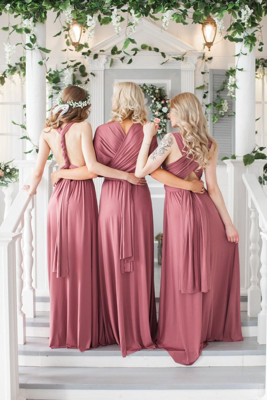 Свадьба - Bridesmaid Dress Infinity Dusty Dress Convertible Dress Wrap Dress  Prom Dress Multiway Dress Champagne Party Dress Ship from New York