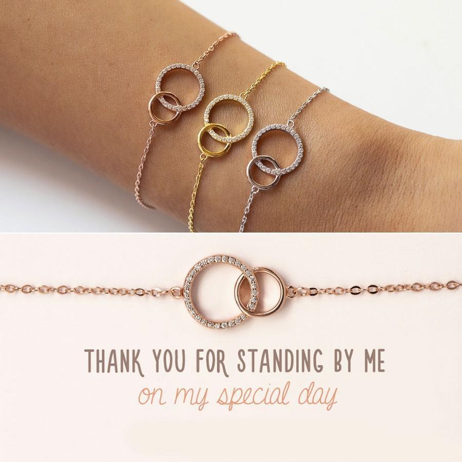 Свадьба - Bridesmaid Gift, Rose Gold Bracelet, Bridesmaid Jewelry, Bridesmaids Bracelet, Interlocking Bracelet, B310