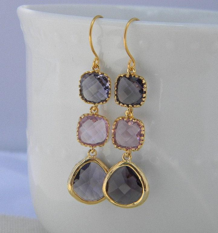 Wedding - Plum and Lavender Three Tier  Dangle Earrings-Bridal Earrings-Bridesmaid Gift- Wedding Jewelry