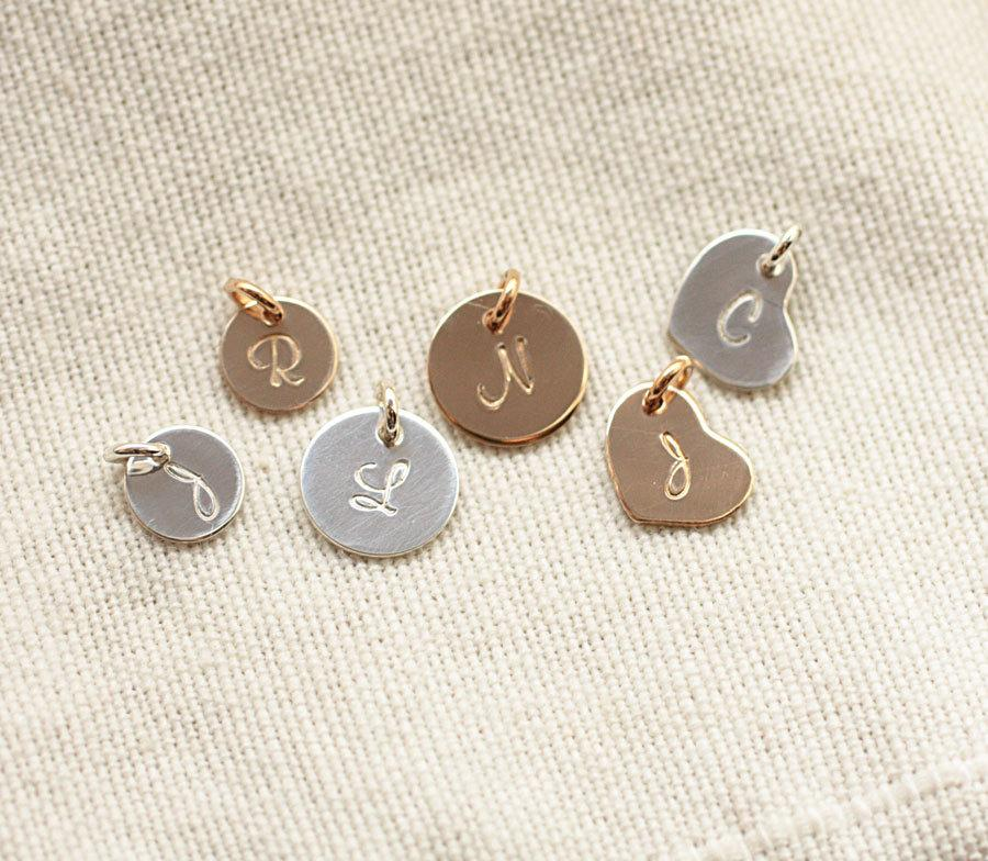 Wedding - ADD ON - Personalized Hand Stamped Initial Charm, Add On to Any Necklace or Bracelet -  Sterling Silver, Gold Filled