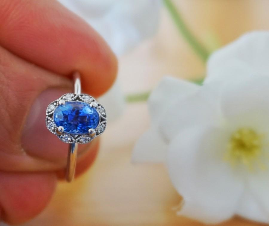 زفاف - Blue Sapphire Oval Engagement Halo Ring