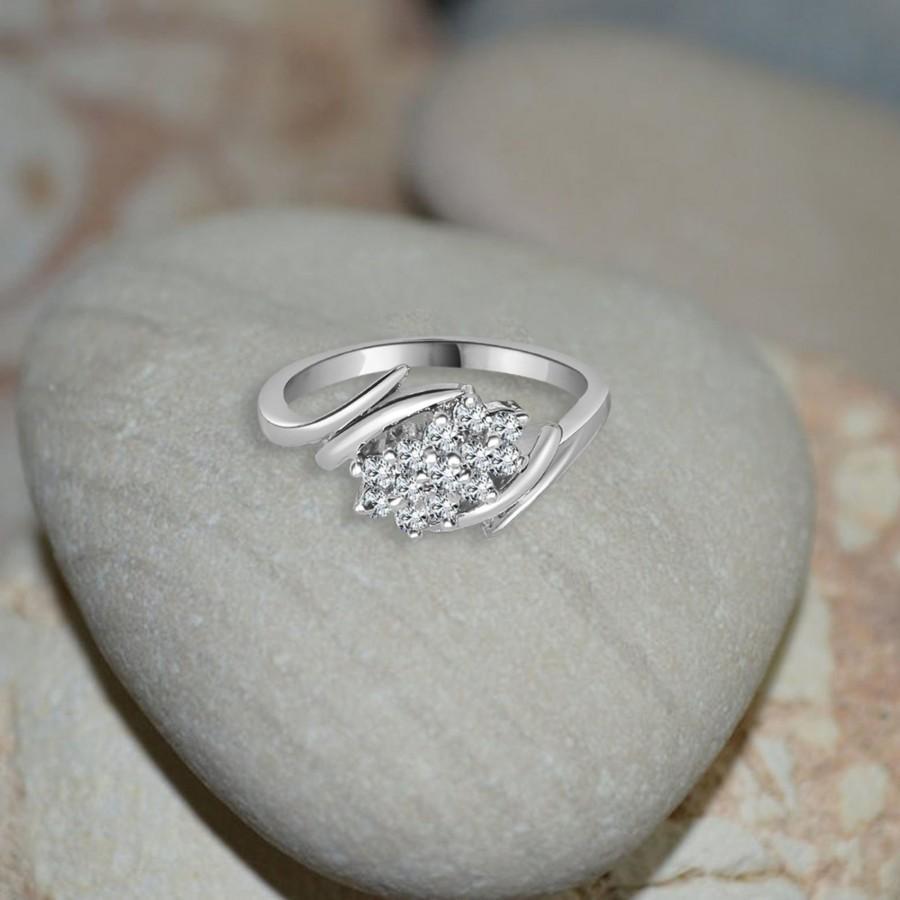 زفاف - 14K White Gold/ Engagement Ring/ Anniversary Gift/ Infinity Ring/ Classic Ring/ Real Diamond Ring
