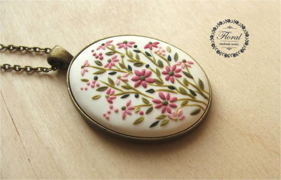 Свадьба - Floral Pendant Necklace for Women, 30th Birthday Gift, Pink Flower Necklace