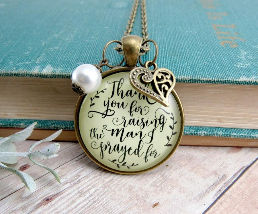 Wedding - Thank You For Raising the Man I Prayed For Mother Of The Groom Necklace Christian Wedding Mother In Law Grooms Parent Gift Religious Jewelry