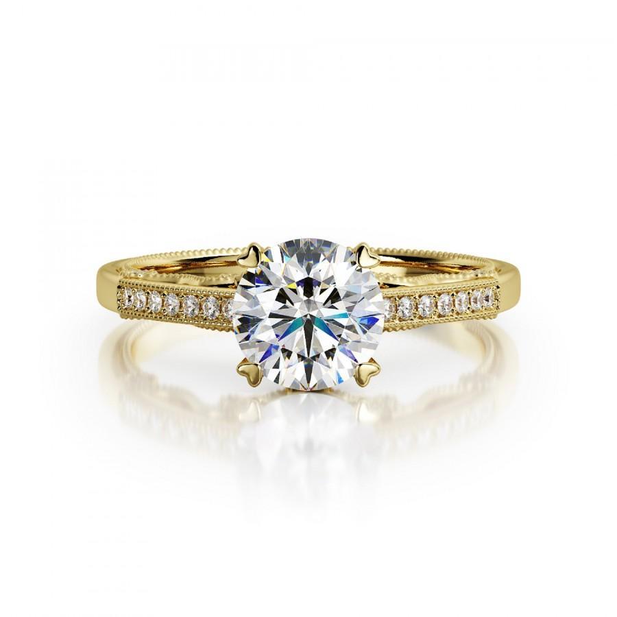 Свадьба - Side Diamonds Engagement Ring made of 14k Yellow Gold 1.30 Carat Diamond