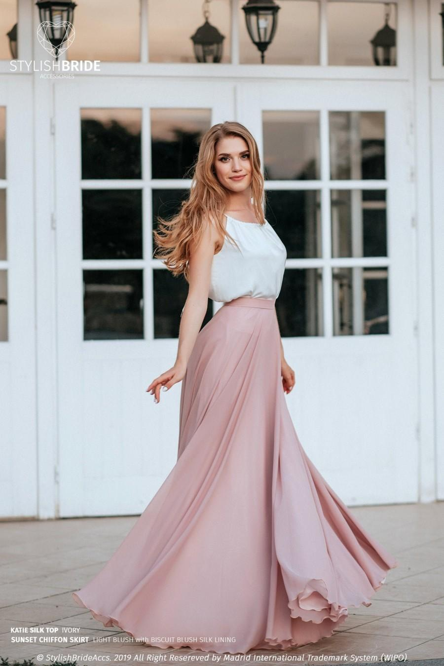 "Wedding - Light Blush Chiffon ""Sunset"" Full Sun Flying A-line Skirt and Katie Silk Top available in Plus Size"