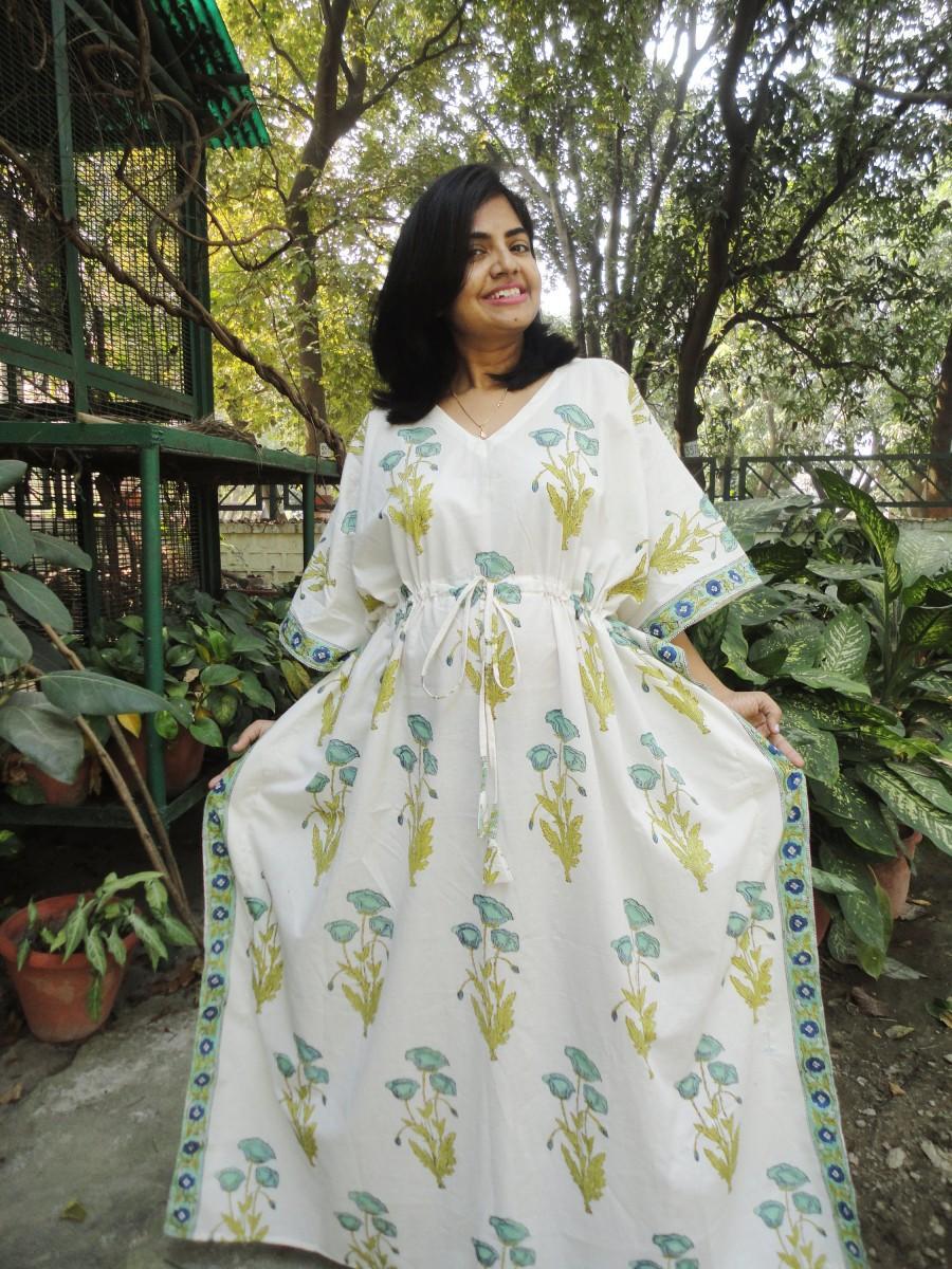 Wedding - Long Floral Kaftan, Caftan, cotton caftan, cotton kaftan, kaftan maxi dress, long caftan, indian maxi dress batik robe  women's clothing
