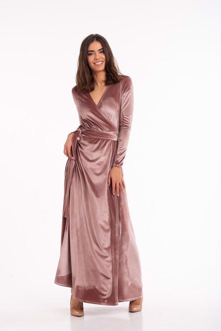 Hochzeit - Mauve Wrap Dress,Velvet Wrap Dress,Long Sleeve Dress,Boho Gown,Maternity Dress,Wedding Dress,Bridesmaid Dress,#110
