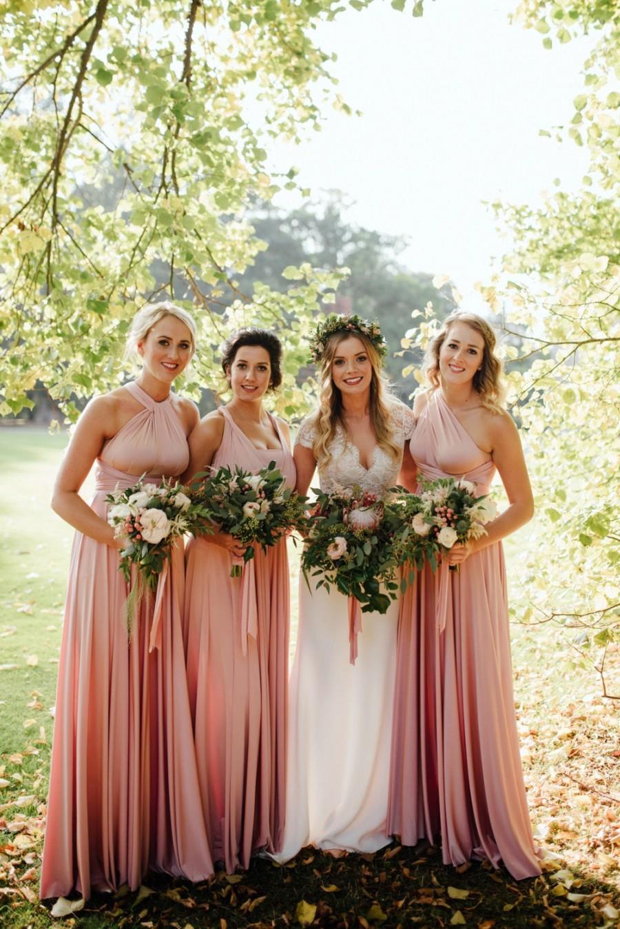 Wedding - Long/Short Blush Bridesmaid Dress Convertible Bridesmaid Dress Multi-way Wrap Dress Maternity Dress Infinity Bridesmaid Dress Evening Gown