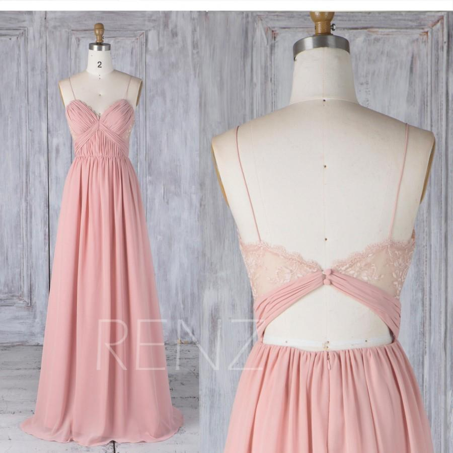 Hochzeit - Bridesmaid Dress Blush Chiffon Dress Wedding Dress Sweetheart Spaghetti Strap Prom Dress Illusion Lace Open Back A-Line Maxi Dress(L338)