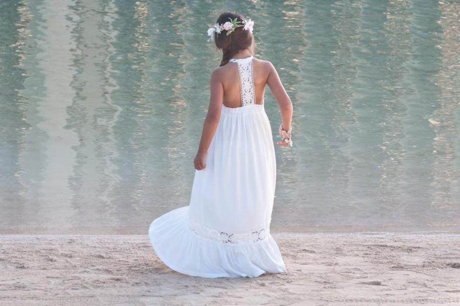 Hochzeit - Beach Flower Girl Dress, Open Back Flower Girl Dress, Long Dresses For Girls, Beach Flower Girl Dresses, Flower Girl Dress Boho,  Off White