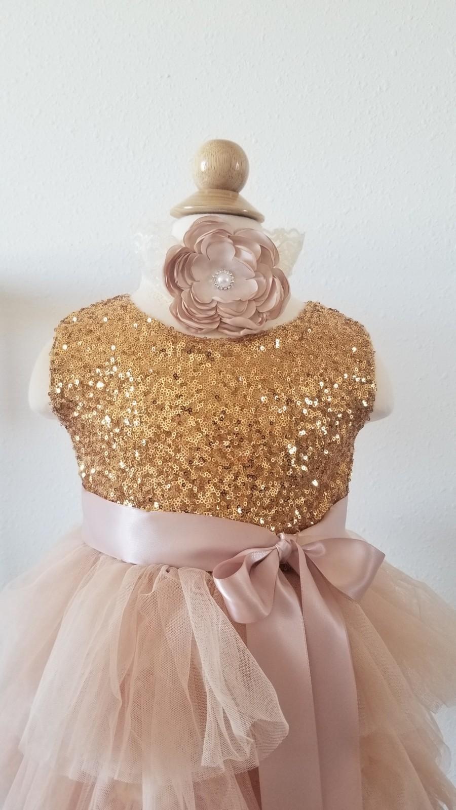 Hochzeit - Gold Sequin Flower Girl Dress Tutu Dress Birthday Dress Girls Party Dress Tulle Dress Sweetheart Back