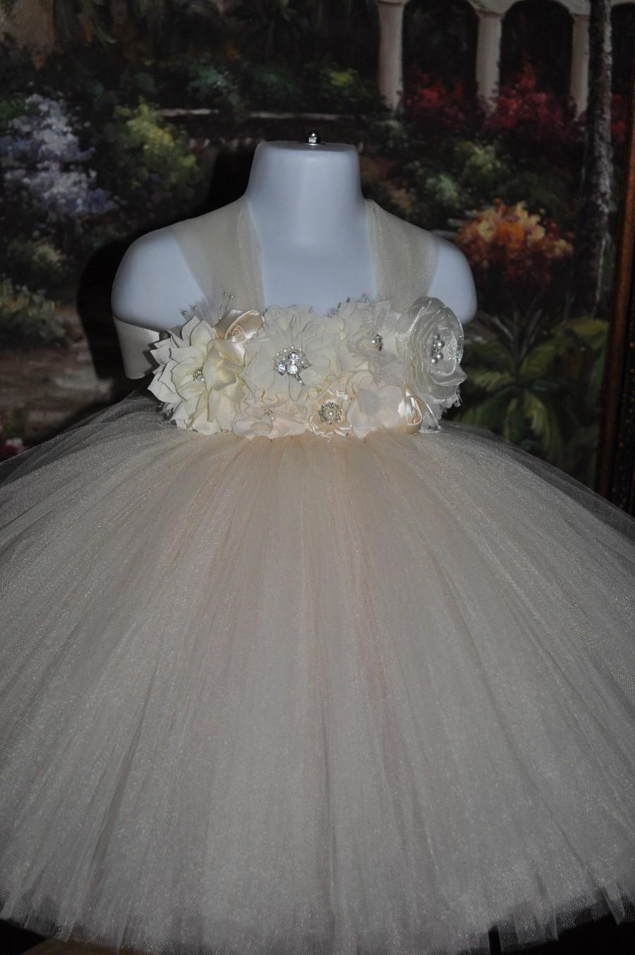 Wedding - Ivory Flower Girl Dress,Ivory Tulle Toddler Dress,Ivory Special Occasion Girls Dress,Ivory Infant Tutu Dress,Vintage  Flower Girl Dress