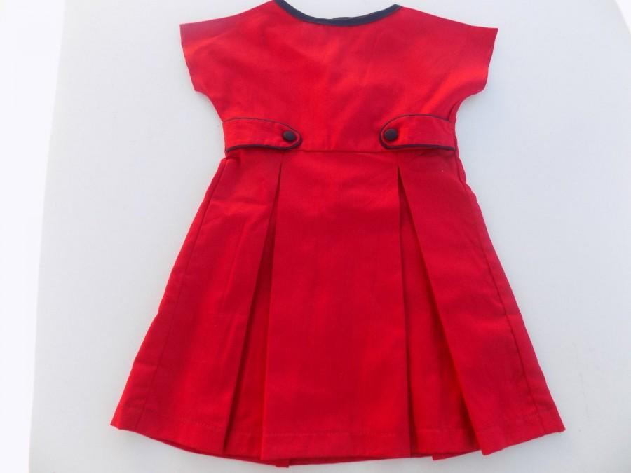 Mariage - Dress girl, red, Navy blue dress, cotton dress, Christmas, birthday, wedding, back, garment girl 2 years, 4, 6, 8 years, 10, 12