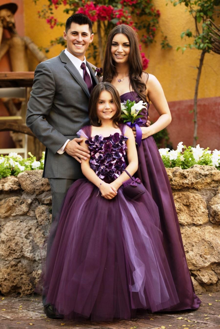 Wedding - Flower girl dress, Eggplant Flower girl Dress, Wedding dress, Deep Purple tutu dress, flower top, hydrangea top, toddler tutu dress
