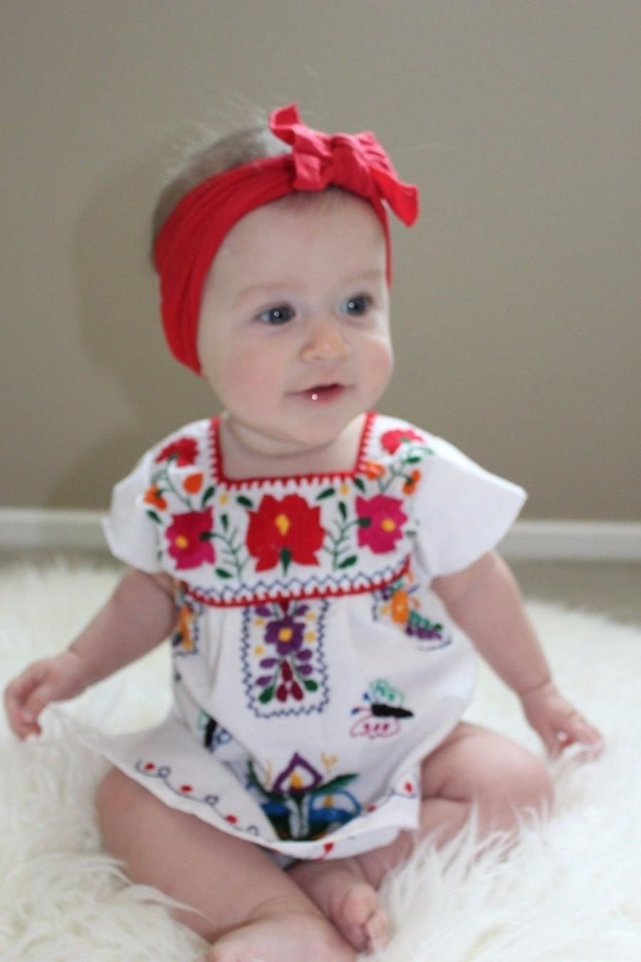 Mariage - Mexican Puebla Dress Many Colors with Hand Embroidered Flowers made in Mexico Baby to Adult Sizes  Fiesta, Party