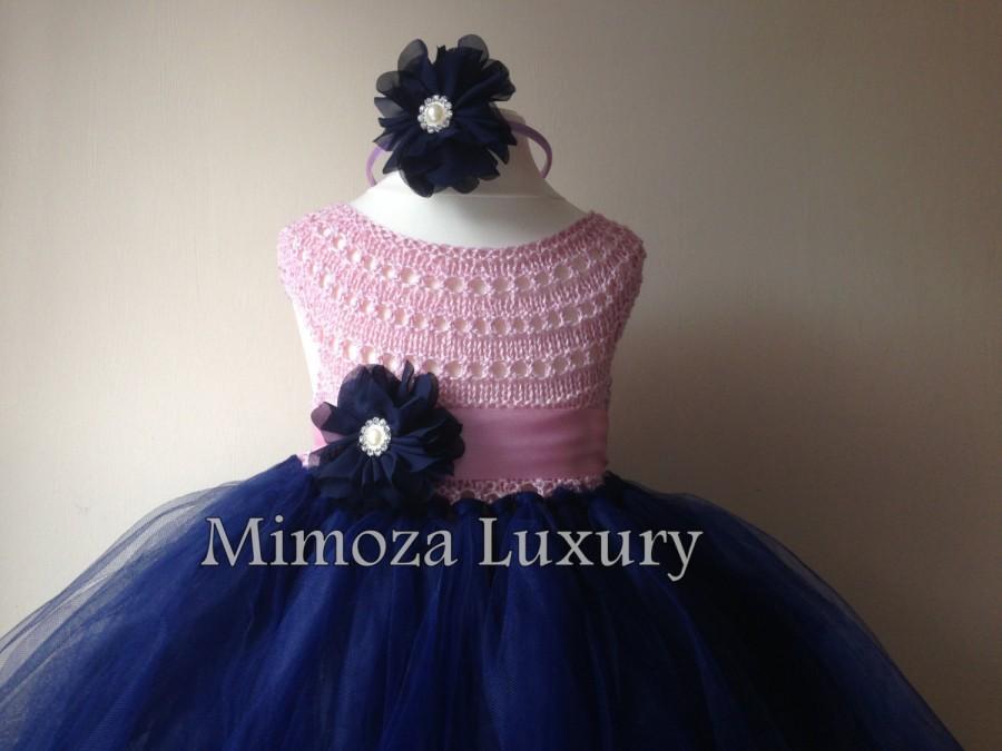 زفاف - Navy Pink Flowergirl dress, tutu dress, navy bridesmaid dress, princess dress, silk crochet top tulle dress, hand knit silk top tutu dress