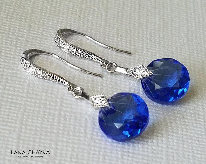 Wedding - Sapphire Crystal Earrings, Swarovski Sapphire Silver Earrings, Wedding Sapphire Blue Jewelry, Blue Bridal Jewelry, Dainty Crystal Earrings