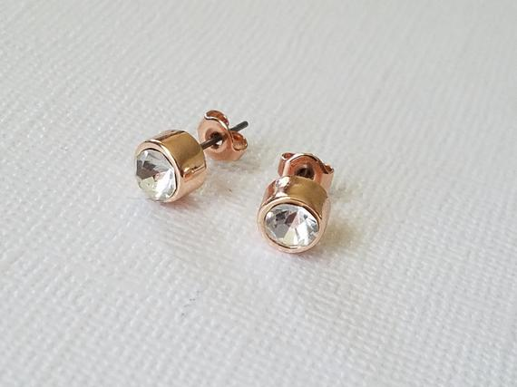 Wedding - Rose Gold Crystal Earrings, Simple Cubic Zirconia Rose Gold Studs, Wedding Pink Gold Earrings, Rose Gold Zirconia Jewelry, Bridal Jewelry