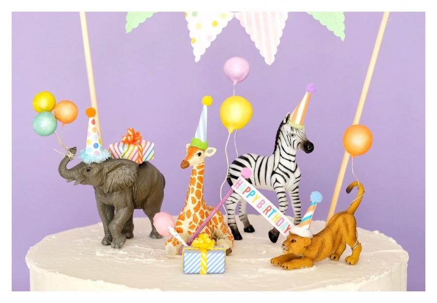 Свадьба - Safari Party Animal Cake Toppers/Zoo Party/Giraffe Cake Topper/Elephant Cake Topper/Zebra Cake/Birthday Lion cub Cake Topper