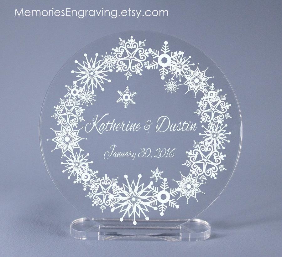 "زفاف - Snowflake Wreath Wedding Cake Topper Keepsake 4"" - 7"" diameter available"