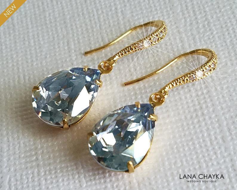 Wedding - Dusty Blue Gold Crystal Earrings, Wedding Dusty Blue Jewelry, Swarovski Blue Shade Rhinestone Earrings, Bridal Bridesmaids Blue Jewelry