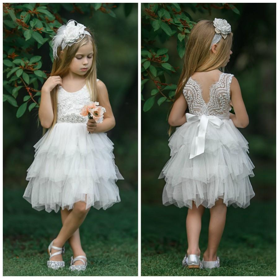 Mariage - Off White Flower Girl Dress, Flower girl dresses, tulle flower girl dress, rustic lace flower girl dress, Tulle tutu flower girl dress.