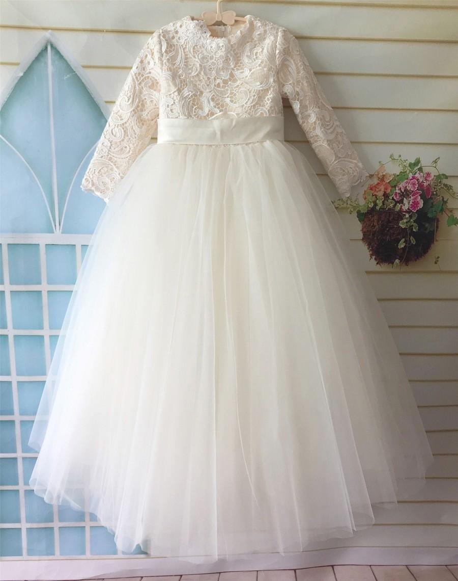 Mariage - Lace Flower Girl Dress, Tulle Flower Girl Dress, Wedding Girl Dress, Birthday Girl Dress, tutu Dress with Long Sleeves Floor Length