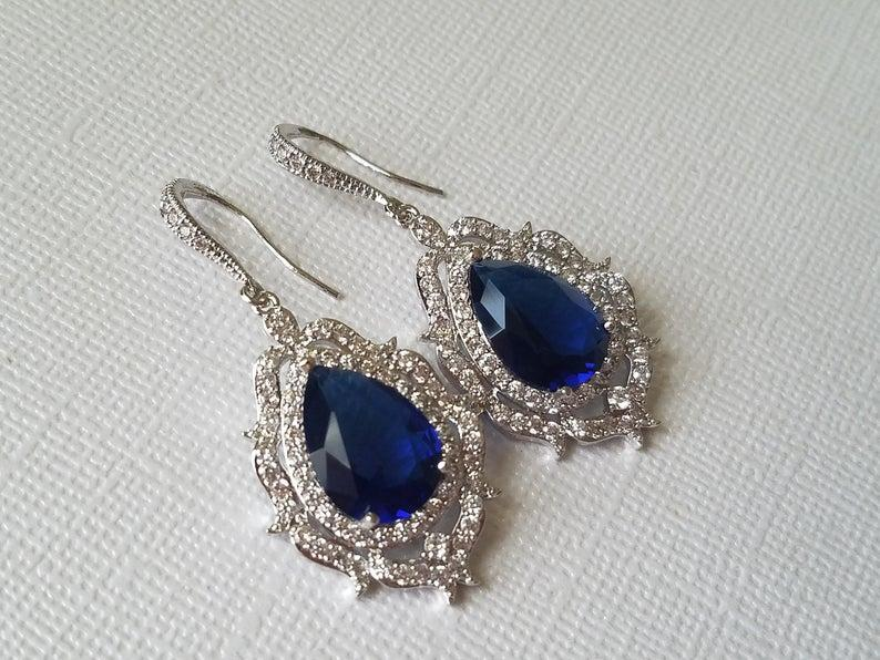Wedding - Navy Blue Crystal Bridal Earrings, Wedding Sapphire Teardrop Earrings, Bridal Blue CZ Jewelry, Blue Chandelier Earrings, Statement Earrings