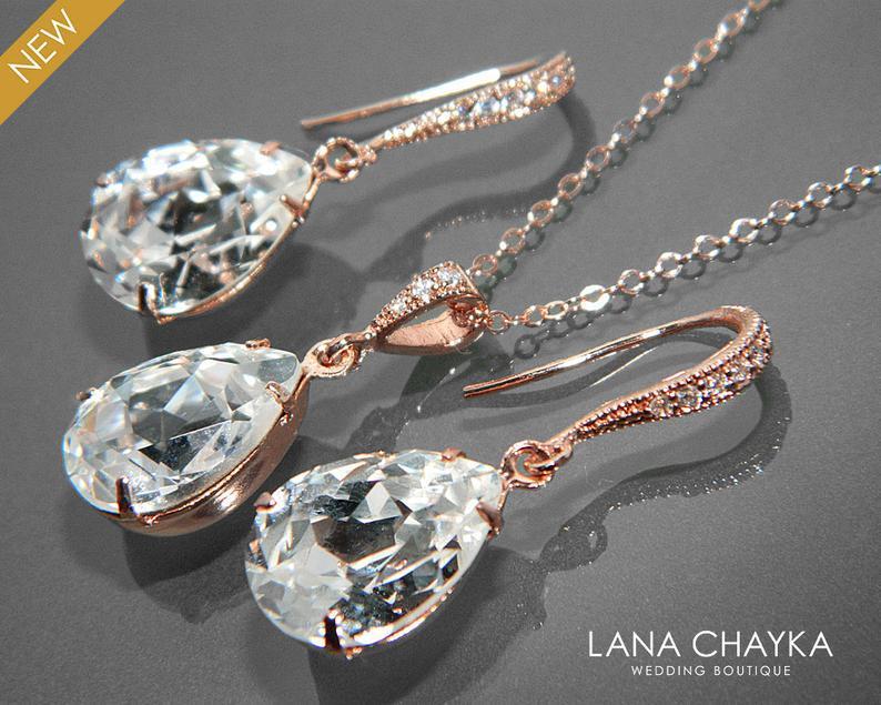 Wedding - Rose Gold Crystal Bridal Jewelry Set Clear Crystal Earrings&Necklace Set Swarovski Rhinestone Jewelry Set Wedding Bridesmaids Jewelry Sets