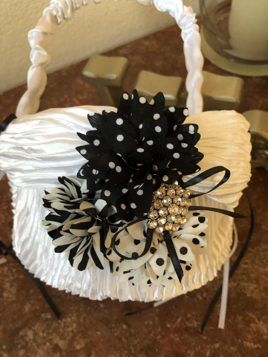 Mariage - FLOWER GIRL BASKET Black and White