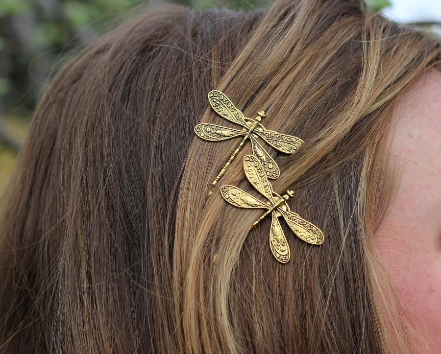 Wedding - Gold Dragonfly Bobby Pins, Set of Two, Antique Gold, Gold Insect Pin, Nickel Free Dragonflies, Dragonflies, Dragonfly Hair Clips, Dragonfly