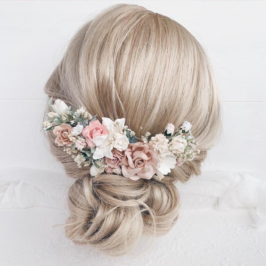 Wedding - Flower hair comb, Bridal Flower hair clip, Blush flower hair comb Wedding