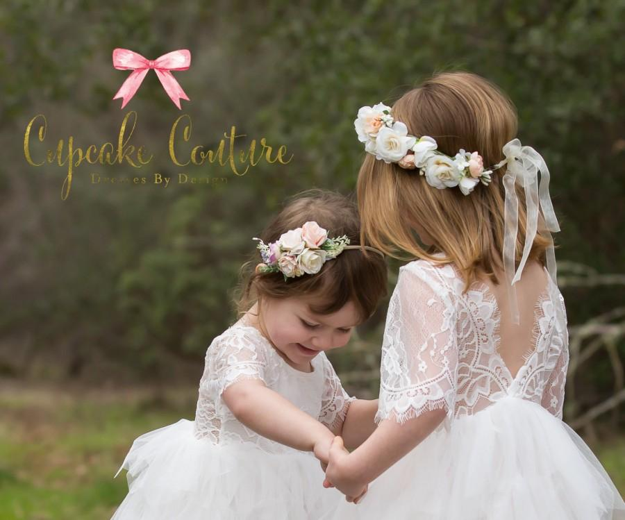 Wedding - Girls floral crown, girls floral headband, flower girl halo