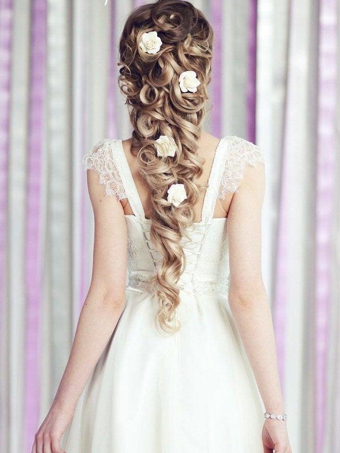 Wedding - Bridal Hair flower Roses hair pin Wedding Hair flower, Bridal Flower pins Bridal flower clip rose hair clip  Bridal hair accessories