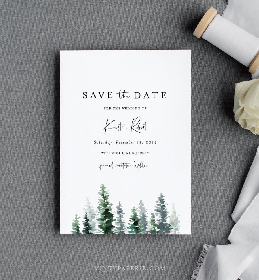 Свадьба - Pine Save the Date Template, Rustic Winter Evergreen Wedding Date Printable, Editable Text, Instant Download, Templett, 4x6, 5x7 #073-141SD