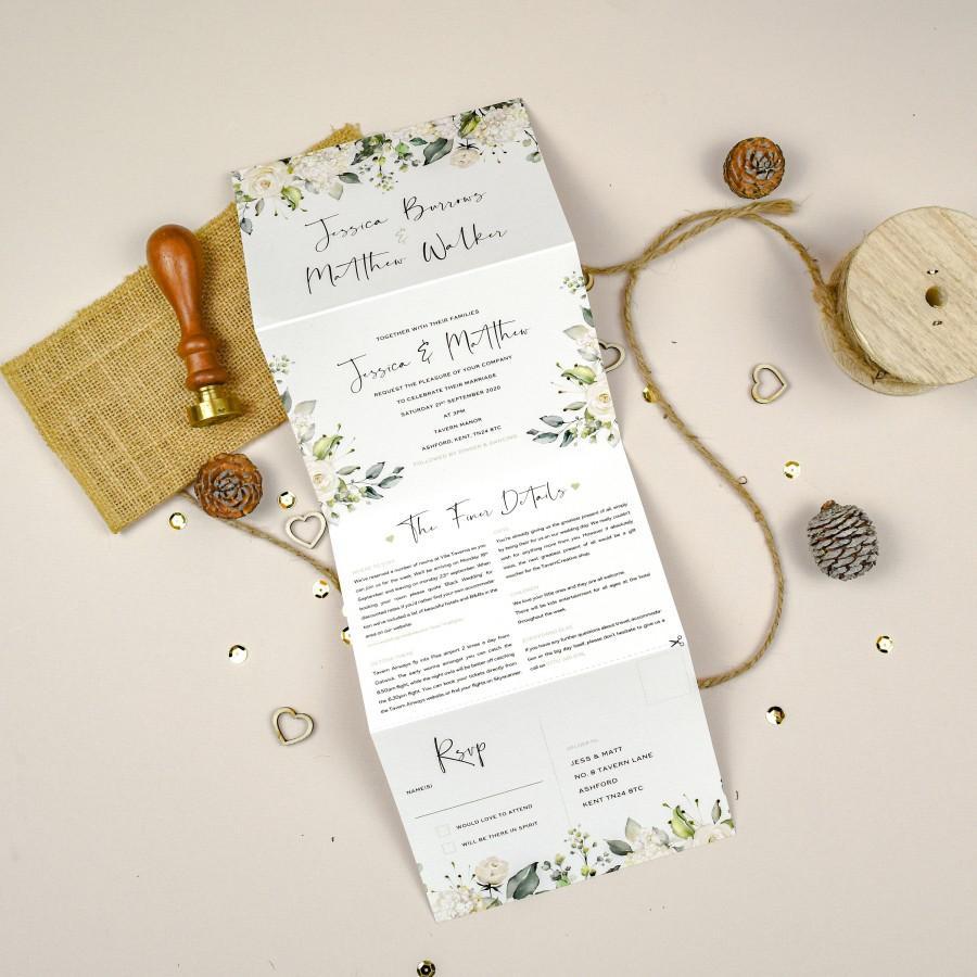 Mariage - Concertina Wedding Invite Green, White Rose Wedding Invitation, Wedding Invite Botanical, Concertina Wedding Invites, Tri Fold Invitation