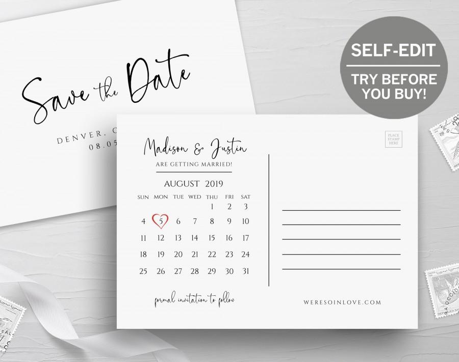 زفاف - Save The Date Postcard, Calendar Template, TRY BEFORE You BUY, Instant Download, Save The Date Cards, 100% Editable, Printable