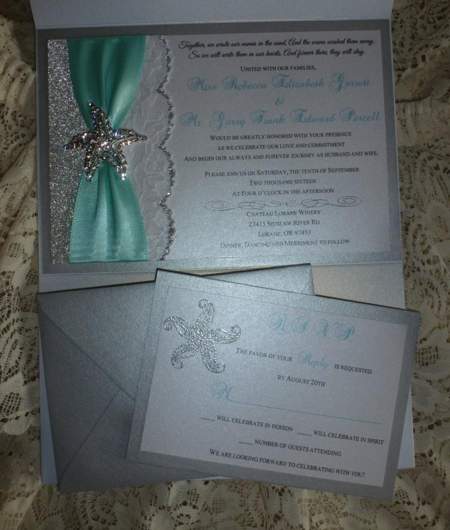 "Wedding - Beach Wedding Invitation - "" Silver Starfish """